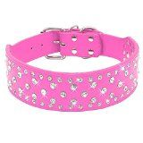 Didog Sparkly Rhinestone Wide Dog Collar -Soft PU Leather Royal Look - Hot Pink XL Size - Fit for Medium Large Golden Terrier Pit Bull Terrier