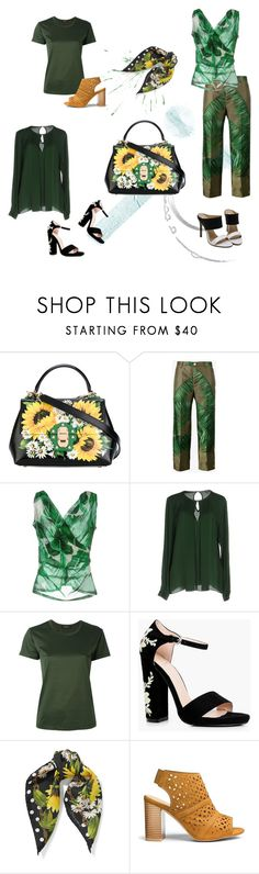 """Tropical print pants with floral bag"" by happiestime ❤ liked on Polyvore featuring Dolce&Gabbana, F.R.S For Restless Sleepers, MICHAEL Michael Kors, Erika Cavallini Semi-Couture and Boohoo"