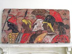Roman Warrior Painting OOAK Art by Charlie Gilder 1970s Painting on Styrofoam