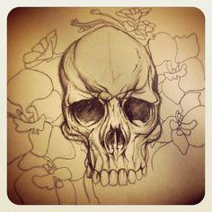 skull sketch [ #skulltattoo #flowertattoo #tattoo ]