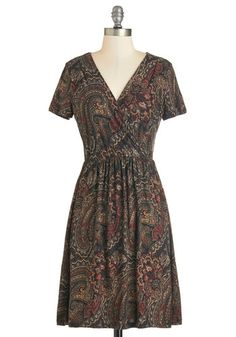 Paisley Chef Dress - Mid-length, Jersey, Knit, Multi, Paisley, Casual, A-line, Short Sleeves, V Neck