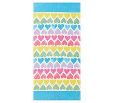 Allover Rainbow Hearts Kid Beach Towel, Multi