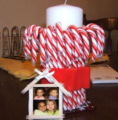 Look past the picture and to the candle---how cute!  Could use mini candy canes for shorter candles OR peppermint sticks.  OR Just unwrap peppermints and glue around the side!