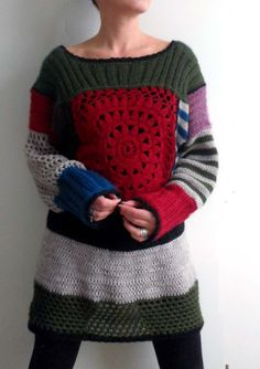 A cool sweater remake, probably with parts of old sweaters plus new crochet: https://lh6.googleusercontent.com/-6H00If08Ep0/TXsU84nvAaI/AAAAAAAACiQ/pT6-zJ56Grw/s1600/j%25C3%25A4m%25C3%25A4langat+020.jpg