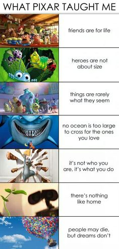 Pixar. Toy Story, A Bugs a life, Monsters Inc., Finding Nemo, Ratatouille, WALLE, and Up.