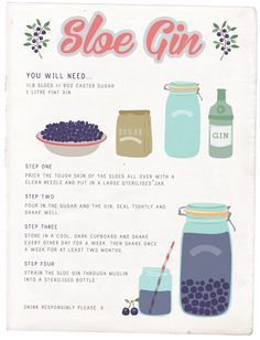 What to make with sloe berries? Really easy sloe gin! Put in freezer to break skins, saves pricking them Homemade Alcohol, Homemade Wine, Cocktail Drinks, Cocktail Recipes, Alcoholic Drinks, Easy Cocktails, Beverages, Gin Recipes, Alcohol Recipes