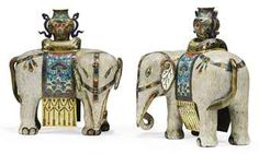 A PAIR OF CHINESE CLOISONNE AND CHAMPLEVE ENAMEL ELEPHANTShttp://www.christies.com/  19TH CENTURY
