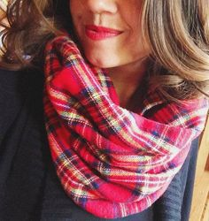 Rocky Mountain Flannel Scarf Red Plaid Tartan by SilverPencilsHome