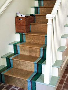 Decorating Stair risers | Wooden Stairs with Painted Stripes Updating Interior Design in ...