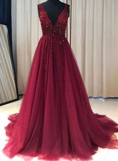 Elegant Prom Dresses, Burgundy Prom Dress A Line Simple Modest V-neck Long Prom Dress Shop for La Femme prom dresses. Elegant long designer gowns, sexy cocktail dresses, short semi-formal dresses, and party dresses. Cheap Red Prom Dresses, Elegant Bridesmaid Dresses, Prom Dresses 2018, Prom Party Dresses, Dance Dresses, Evening Dresses, Sexy Dresses, Prom Gowns, Red Sweet 16 Dresses