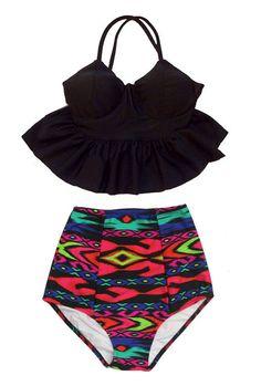 Black Long Peplum Top and Aztec Tribute High waisted waist Shorts Bottom Bikini Swimsuit Swimwear Beach Swim wear Bathing suit dress S M L