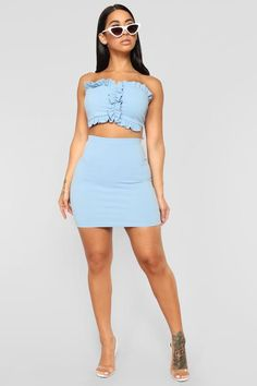 Available In Light Blue And Piece SetTop:Tube TopRuffle EdgePaddedBottom:Mini LengthElastic Polyester SpandexMade in USA Passion For Fashion, Light Blue, Coral, Mini Skirts, Two Piece Skirt Set, Lace Up, Crop Tops, Collection, Dresses