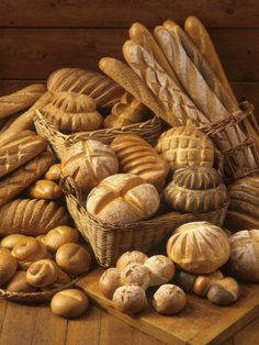 Still Life with White Bread, Bread Rolls & Bread Sticks Photographic Print by Gerrit Buntrock Yeast Rolls, Bread Rolls, Bread Display, Bread Art, Pizzeria, Breakfast Biscuits, Our Daily Bread, Bread And Pastries, White Bread