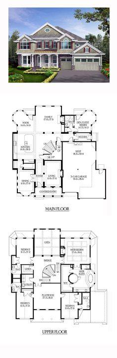 Shingle Style COOL House Plan ID Total Living Area 4373 sq ft 4 bedrooms and 5 bathrooms Best House Plans, Dream House Plans, House Floor Plans, My Dream Home, 5 Bedroom House Plans, Mansion Bedroom, Sims House Plans, Dream Houses, Building Plans