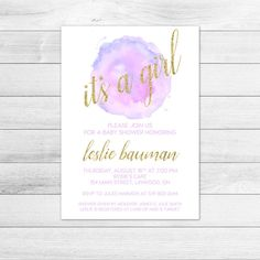 Baby Shower Invitation Letter Inspiration It's A Girl Glitter Gold Pink Baby Shower Invitation  Baby Shower .