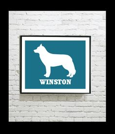 Dog Silhouette Digital Art Print - Siberian Husky - Personalized Dog Art - Personalised Gift - Pet Portrait - Gift Idea - Print by OutlineArt Dog Silhouette, Dog Art, Pet Portraits, Husky, Moose Art, Digital Art, Art Prints, Pets, Business