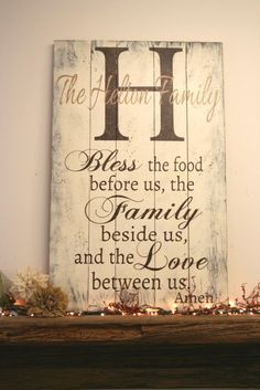 Bless The Food Before Us Personalized Wood Pallet Sign Dining Room Decor