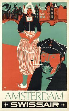 Henri Ott, Air Travel Poster, Netherlands, 1951.