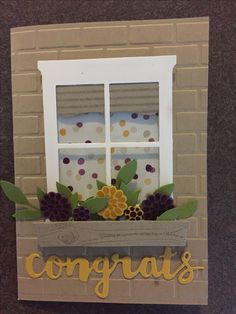Stampin up Hearth and home, happy birthday gorgeous, sunshine sayings framelits, moonlight dsp. House warming card