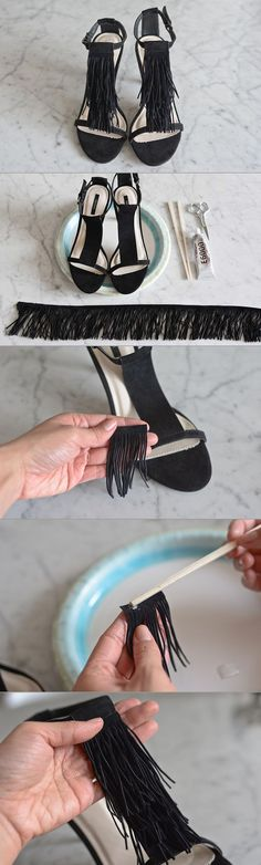 We used to think fringe was reserved for flapper dresses and boho accessories. After seeing our favorite designers, from Chloe to Proenza Schouler, reinvent it and and give it a high fashion twist, we can't seem to get enough of it. Here, we show you how to add a touch of fringe to a pair of heels. It's the perfect way to complete a look for a night out.