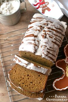 Glazed Banana Gingerbread ~ such a delicious combination of flavors in a moist holiday quick bread | LemonTreeDwelling.com