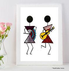 Warli Art Warli prints indian folk art prints home decor image 2 Worli Painting, Music Painting, Fabric Painting, Madhubani Art, Madhubani Painting, Art Tribal, Indian Art Paintings, Abstract Paintings, Indian Folk Art
