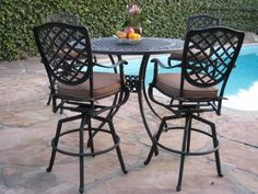 "Cast Aluminum Outdoor Patio Furniture 5 Piece Bar Stool Set B with 4 Swivel & Rock Stools CBM by Bar Stool Table Set. $1699.00. IF YOU HAVE ANY QUESTIONS PLEASE CLICK ON (CBM1290) THEN (return). Chair dimensions: 28"" D x 24"" W x 50"" H ( Seat high 29"" ) . Chair weight: 24 lbs. (each).Table dimensions: 48"" L x 48"" W x 42"" H . Table weight: 60 lbs.. Color: Desert Brown Finish, Includes: 6 Arm chairs 2 Swivel Chairs and with 6 free Cushions 1 table. Made of genuine cast aluminum,..."