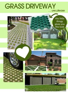 grass driveways – i love the little x's - need to make the driveway wider. I like this look instead of gravel or concrete Permeable Driveway, Gravel Driveway, Landscape Design, Garden Design, Driveway Design, Driveway Ideas, Pergola, Outdoor Projects, Backyard Landscaping
