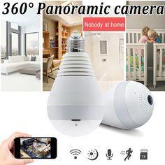 Encontrar Más Cámaras de vigilancia Información acerca de 1.44mm AHD 960 P fisheye WiFi cámara IP inalámbrica lámpara panorámica inalámbrica doméstica seguridad vigilancia CCTV detección de movimiento, alta calidad Cámaras de vigilancia de E-Telink Store en Aliexpress.com