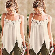 001   Asymmetrical  boho top A gorgeous Bohemian top with pretty embroidery detail. Adjustable straps. So sexy!! So chic!! Tops