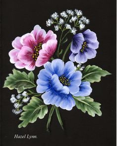 One Stroke Flowers. | pintura em tecido | Pinterest | Bright Colors and Flower