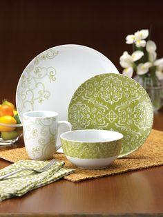Amazon.com | Rachael Ray Dinnerware Curly-Q 4-Piece Dinnerware Place Setting: Dishes: Dinnerware Sets