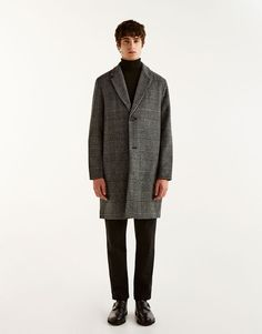 Pull&Bear - man - clothing - sale favourites - grey checked woolly fabric coat - grey - 05711511-I2017