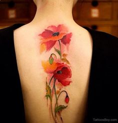 Watercolor Poppy Flowers Tattoo On Full Back