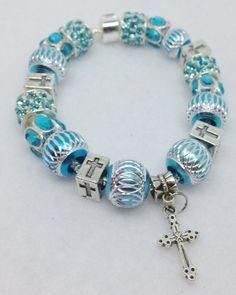 Blue Cross European Style Charm Bracelet by Graceandliz on Etsy, $15.00