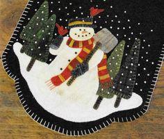 Wolle Applique Muster, Schneemann für mieten, Tischläufer Wolle, Winter-Dekor, Primitive Dekor, rustikale Dekor, Primitive Versammlungen Muster nur