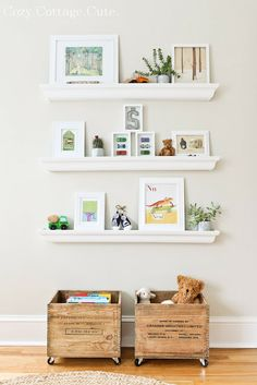 It's like looking at the nursery I've had designed in my head for the last year! Love the wooden crate toy boxes