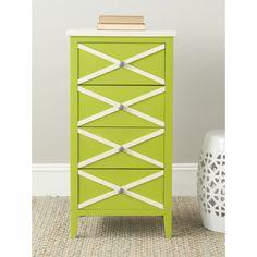 Safavieh Sherrilyn Lime Green/ White 4-drawer Accent Table   Overstock.com
