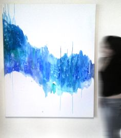 "Experimental abstract painting using acrylic & alcohol. (5'X4') I chose to use blues & greens because the colors are calming and reminded me of the ocean. Nicknamed ""Baby Jellyfish"" because the splattered textures by the alcohol looked like water organisms."