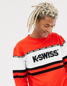 Buy K-Swiss Fresno Panel Sweatshirt In Red at ASOS. Get the latest trends with ASOS now. Dread Hairstyles For Men, Dope Hairstyles, Boy Outfits, Fashion Outfits, Cute Outfits, Dreads, Calvin Klein Underwear, Red Hoodie, Polo T Shirts