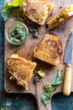 Breakfast Grilled Cheese with Soft Scrambled Eggs and Pesto | halfbakedharvest.com #breakfast #brunch #grilledcheese via @hbharvest