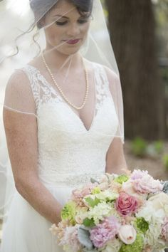 Beautiful Bridal Portraits with veil and bouquet - Charleston Crafted