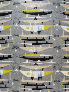 "50s Fabric - ""Raimoult furnishing fabric, by Robert Stewart (1924-95) for Liberty & Co. Screen-printed linen and cotton. London, England, 1954."""