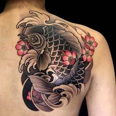 Koi fish shoulder piece 🐠🌸 kept checking if was alive cuz she sat so still 🙃 Pez Koi Tattoo, Koi Tattoo Sleeve, Japanese Sleeve Tattoos, Tattoo Sleeve Designs, Elbow Tattoos, Star Tattoos, Best Arm Tattoos Ever, Tiger Face Tattoo, Cover Up Tattoos For Men
