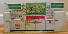 Vintage 1950's MARX Toy Tin Lithographed Modern Kitchen w/ Accessories #Marx