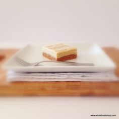 Quick, easy and delicious vanilla slice. Free from gluten, grains, dairy, egg and refined sugar. I hope you do too. subbing oats for coconut Nutella Brownies, Nutella Cookie, Clean Eating Recipes, Raw Food Recipes, Sweet Recipes, Simply Recipes, Vegetarian Recipes, Paleo Dessert, Healthy Sweets