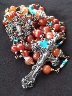 The Sedona Rosary - Red Banded Agate, Apricot Jade and Turquiose by Given Insignares
