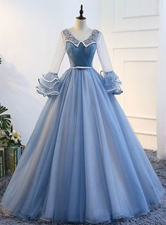 In Stock:Ship in 48 hours Blue Long Sleeve Tulle Quinceanera Dresses Royal Dresses, Ball Gown Dresses, Dress Up, Prom Dresses, Blue Evening Dresses, Tulle Gown, Sleeve Dresses, Fantasy Gowns, Mode Outfits