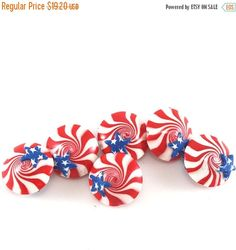 SPRING SALE polymer clay lentil beads USA flag beads