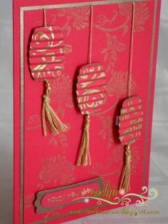 handade card: Chinese New Year Lanterns ... red with gold stamping and mat ... beautiful!!